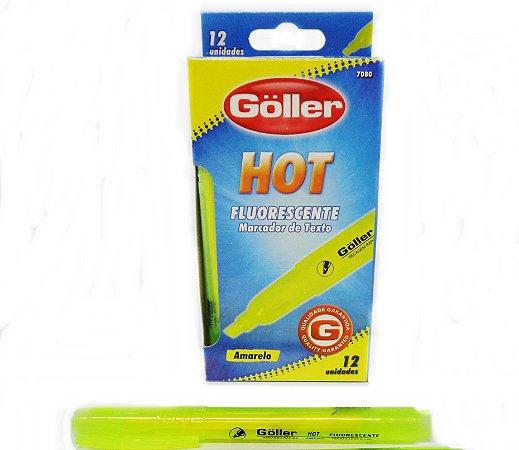 Marca Texto GOLLER HOT Amarelo Fluorescente  - Kit com 12 Marcador de texto - 7080-7081 G-762 7080