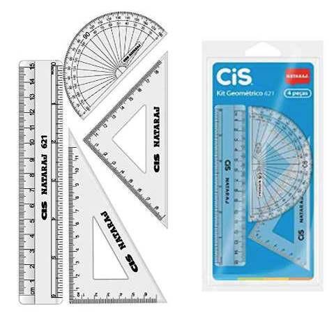 Regua transparente - Kit Geométrico com 4 pecas - regua - transferidor - esquadro - CIS 621 - 9814