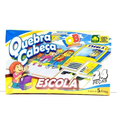 Brinquedo Educativo Jogo Pedagógico IOB Madeira - Quebra Cabeca ESCOLA - Ref.010