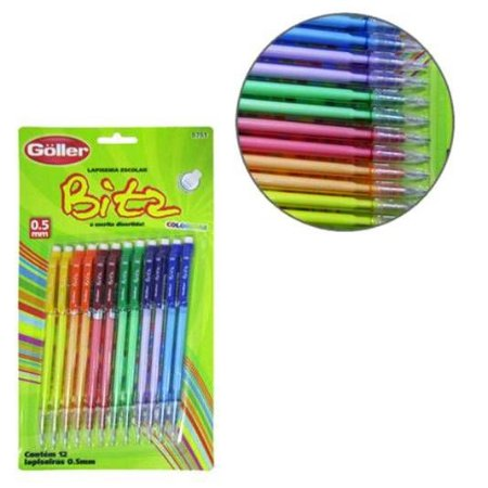 Lapiseira Escolar Bitz Colors 0,5 mm Com Borracha - Kit Com 12 pecas -GOLLER - G-465 - 5751