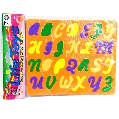 Jogo Educativo Pedagogico em EVA - Encaixe Alfabeto Cursivo - 19x23 cm - MINGONE