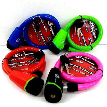 Cadeado Multiuso - Cadeado Colorido - Cadeado para Bicicleta com chave - 65 cm -SQ3946