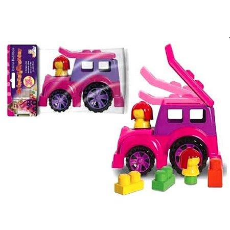 Brinquedo Educativo Pedagógico - Carro Didático de Encaixe - ROSA - Diviplast 131 pex1.5