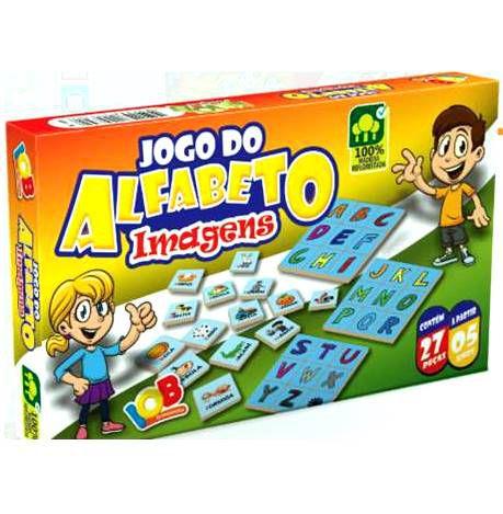 Brinquedo Educativo Jogo Pedagógico IOB Madeira  - Jogo do Alfabeto  - IMAGENS - Ref. 70