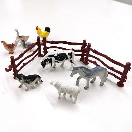 Animais de brinquedo - ANIMAIS DA FAZENDA  - com 9 pecas - Ref. BA12466-fazenda