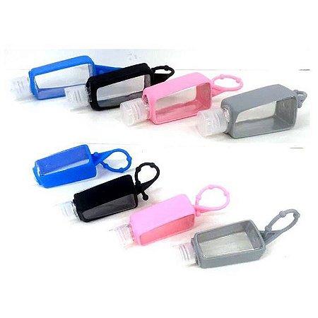 Porta Alcool Gel 30 ml - pacote com 12 potinhos porta Alcool Gel coloridos com capa de silicone - SA6097