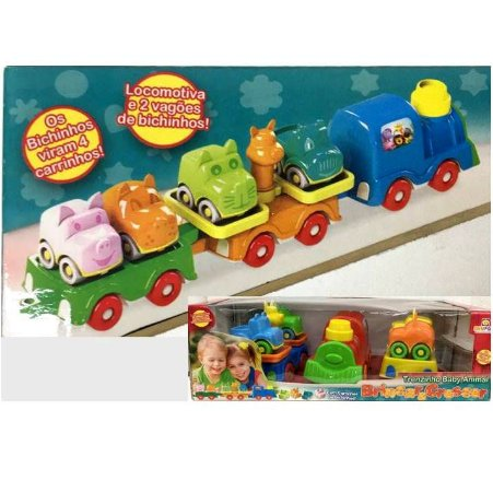 Brinquedo Educativo - Trenzinho Colorido Baby Animal 7 pecas - Divplast Ref.554