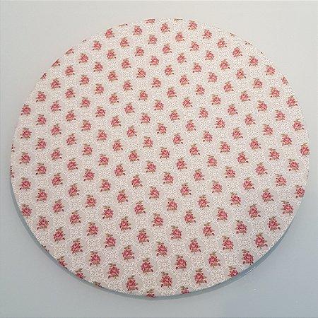 Capa de tecido para sousplat fundo bege com rosas claras