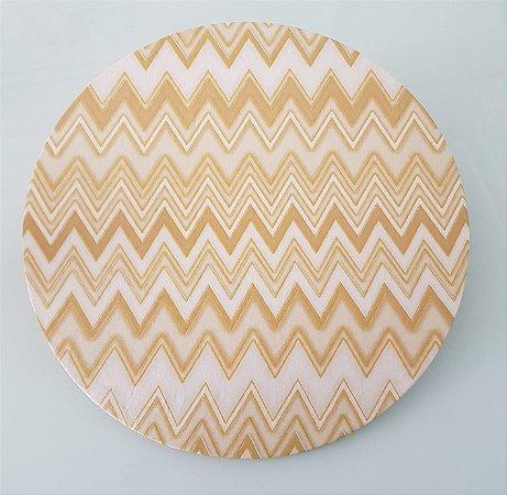 Capa de tecido para sousplat chevron dourado