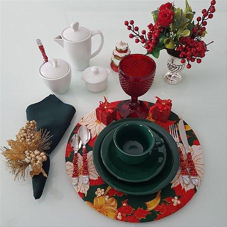 Capa de tecido para sousplat ibisco fundo verde