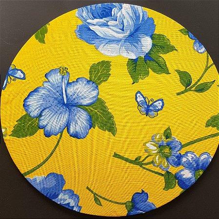 Capa tecido de CHITA amarelo com flores azuis