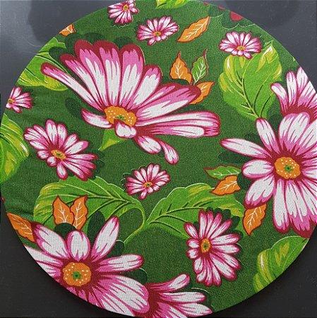 Capa tecido de CHITA verde com flores rosas
