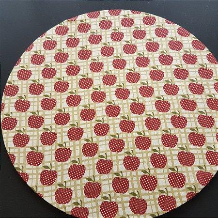 capa tecido algodão creme com maçãs com poás