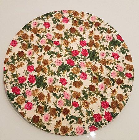 Capas de tecido sousplat flores vermelhas e rosas