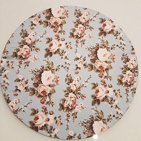 Capas de tecido sousplat flores creme com fundo azul clarinho