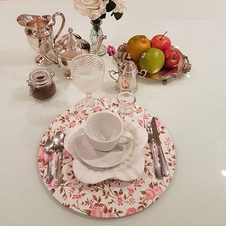 Capas de tecido sousplat flores rosa clarinho e fundo creme