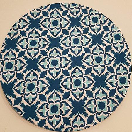 Capa Sousplat Mosaico azul e branco com fundo azul