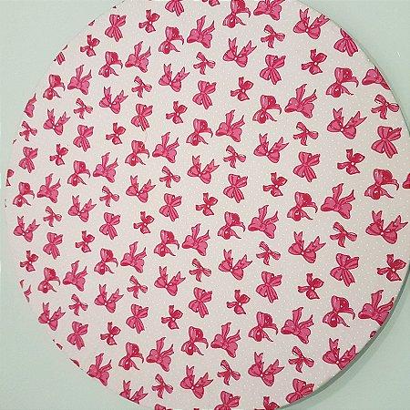 Capa Sousplat Laço Rosa com poás branco