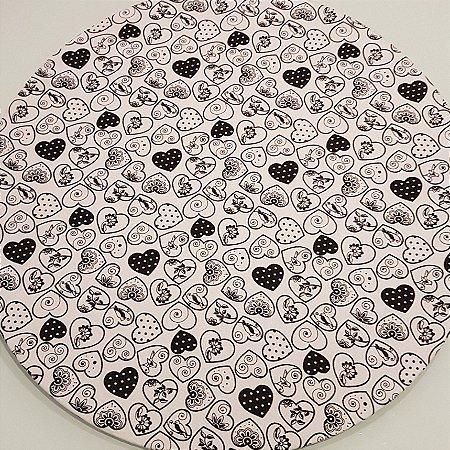 Capa Sousplat Coração branco preto fundo branco