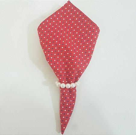Guardanapo fundo vermelho com bolinhas brancas e azul