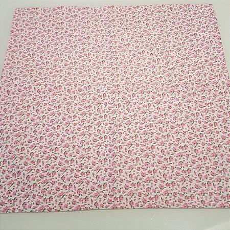 Guardanapo algodão fundo branco com rosas 0,42 cm