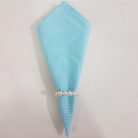Guardanapo fundo azul claro com bolinhas branca