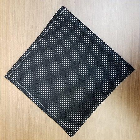 Guardanapo tecido algodão preto com poás branco bolinhas