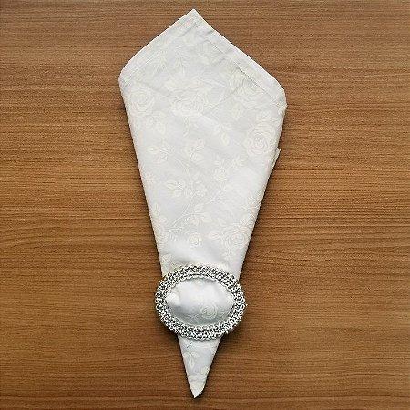 Guardanapo de tecido algodão 42cm branco com rosa brancas