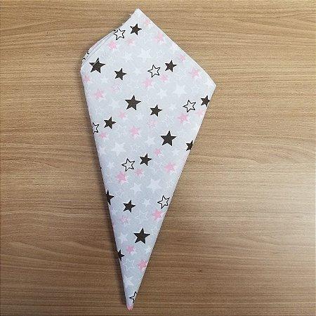 Guardanapo de tecido 42cm fundo cinza com estrelas preta e rosa