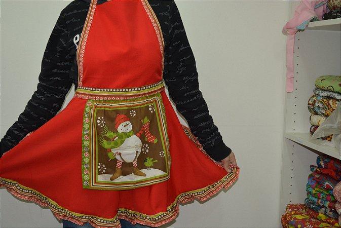 Avental  natal boneco de neve