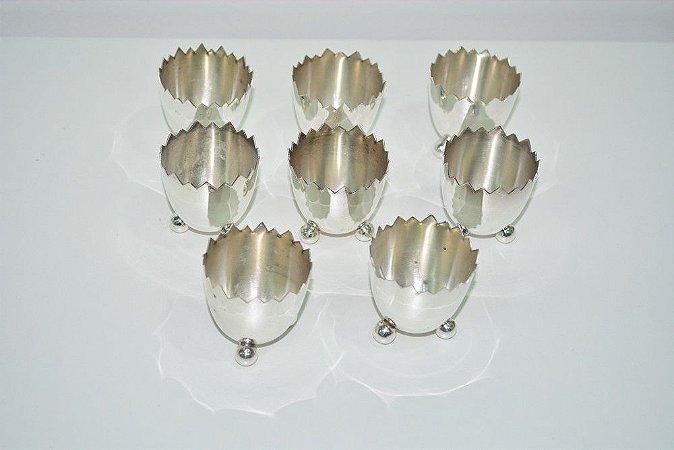 Conjunto Porta ovos banhado a prata