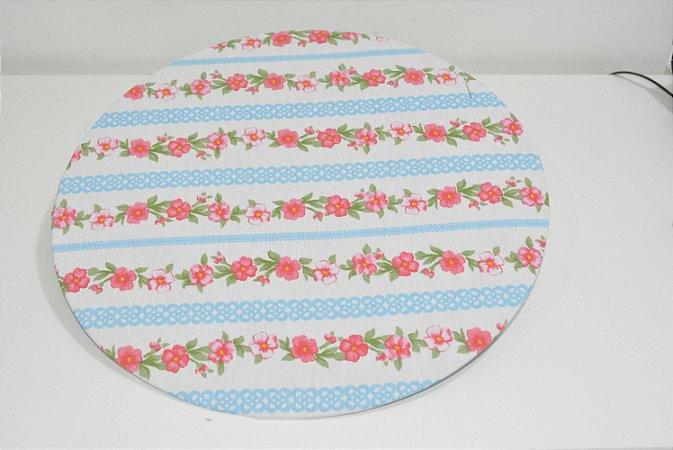capa sousplat flores rosa listras brancas e azul