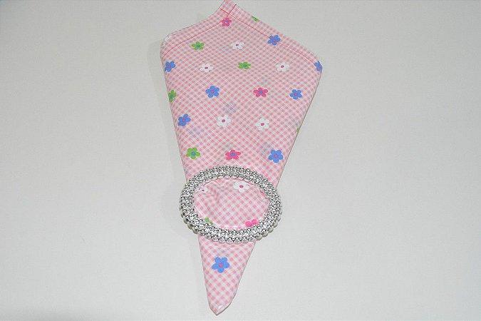 guardanapo xadrez rosa bebe com florzinhas