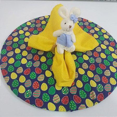 Kit com 3  peças Páscoa 1 capa azul 1 guardanapo amarelo 1 porta guardanapo coelho pequeno