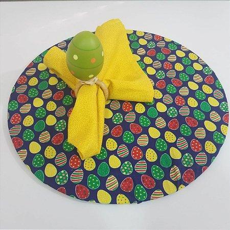 Kit com 3  peças Páscoa 1 capa azul 1 guardanapo amarelo 1 porta guardanapo ovo