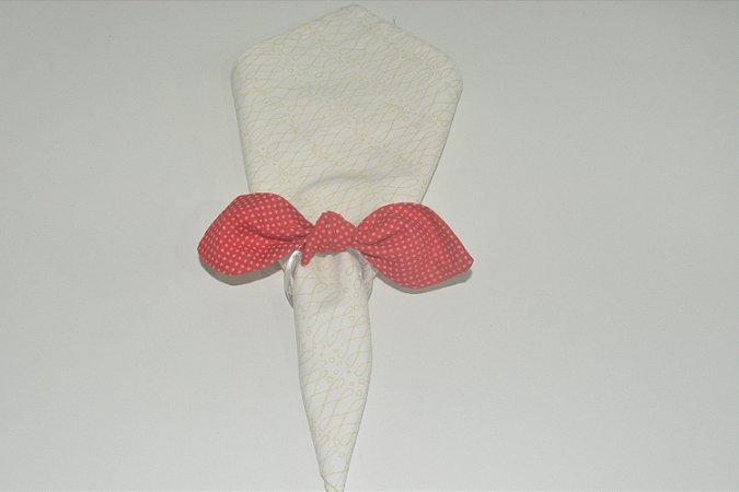 Porta Guardanapo de tecido vermelho com bolinhas rosas