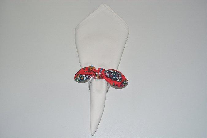 Porta Guardanapo de tecido fundo vermelho com caveiras mexicanas