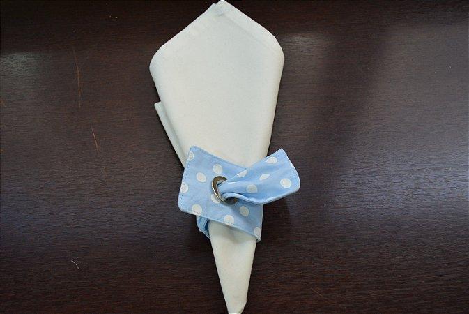 porta guardanapo de tecido fundo azul com bolinhas brancas