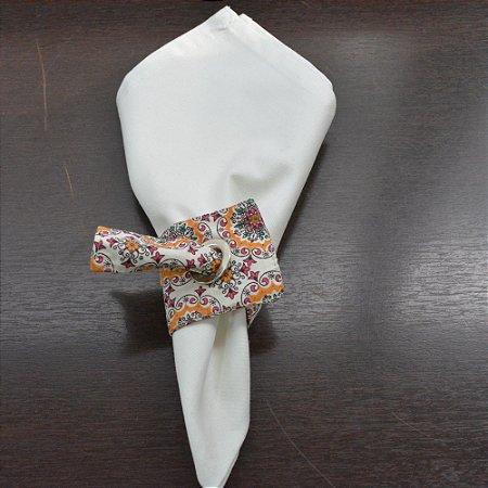 Porta guardanapo de tecido mosaico fundo creme