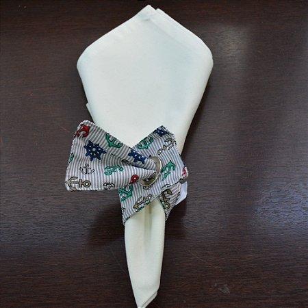 Porta guardanapo de tecido fundo listrado com âncoras