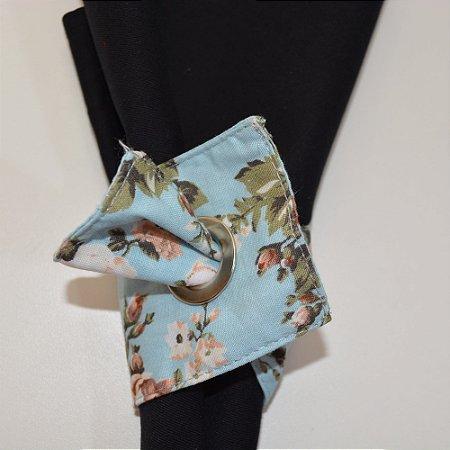 Porta guardanapo de tecido  fundo azul com flores bege