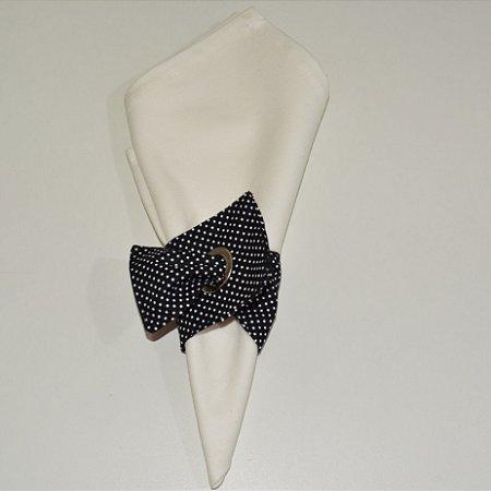 Porta guardanapo de tecido fundo preto com micro bolinhas brancas