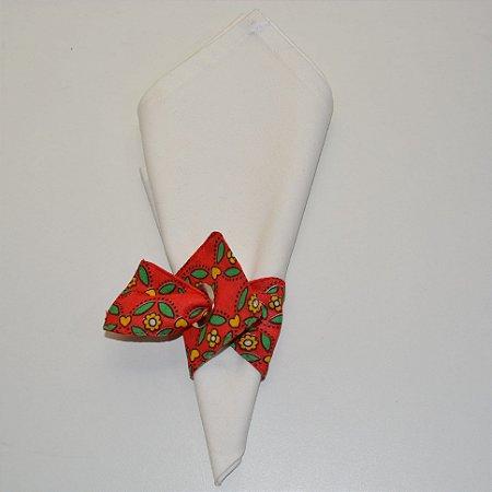 Porta guardanapo de tecido fundo vermelho com florzinhas amarelas