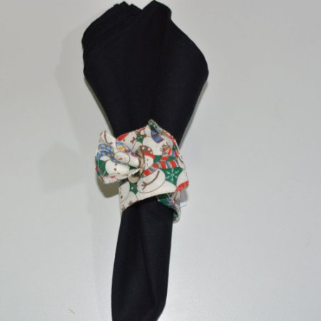 Porta guardanapo de tecido fundo de bonecos de neve