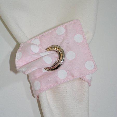 Porta guardanapo de tecido fundo rosa bebê com poás brancas