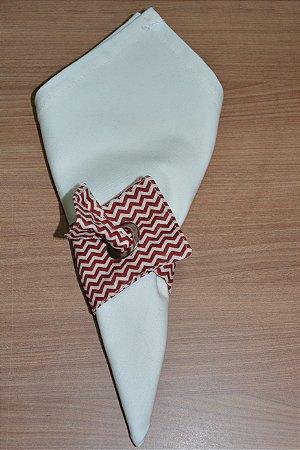 Porta guardanapo de tecido chevron bege e marrom