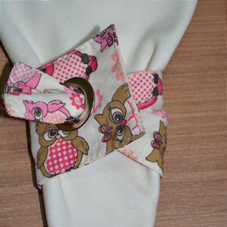 Porta guardanapo de tecido fundo corujinhas marrom e rosas