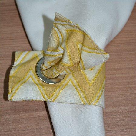 Porta guardanapo de tecido chevron dourado