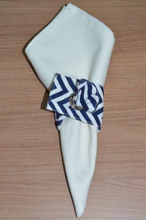 Porta guardanapo de tecido chevron azul escuro
