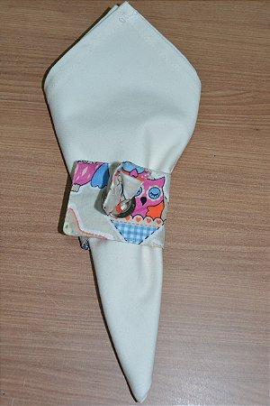 Porta guardanapo de tecido fundo cinza com corujas